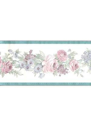 Elegant Pink Roses And Blue Floral On White Silk Turquoise Trim Wallpaper Border