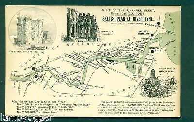 VISIT OF CHANNEL FLEET 1904,SKETCH PLAN OF RIVER TYNE, vintage postcard