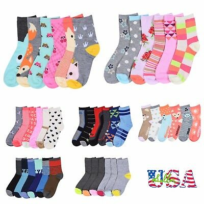6 12 Pairs Lot Kids Crew Ankle Socks Toddler Boy Girl Fashion 0-12 2-3 4-6 6-8
