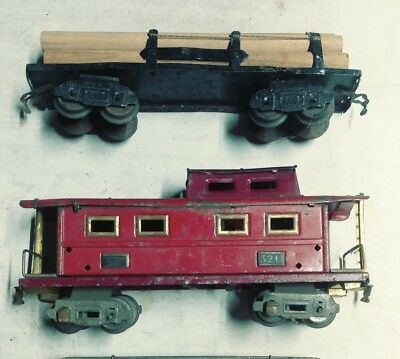 American Flyer Lines 3211 Prewar Tin Caboose & Unmarked Flatbed Car - For Parts