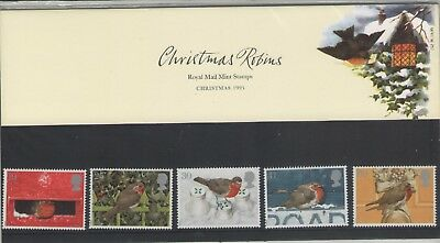 Christmas Robins 1995 Presentation Pack Of Royal Mail Mint Stamps Free P&p