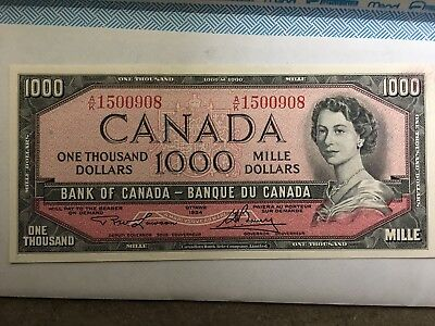 Uncirculated Lawson Bouey 1954 $1000 canadian bills ak1500908-914 Seven total