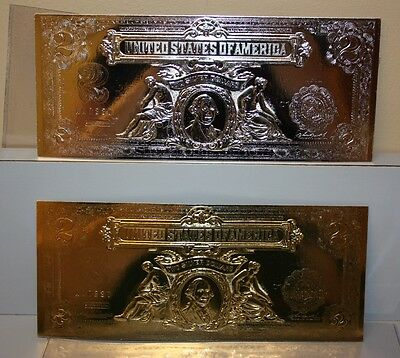 National Collectors Mint Set Of Two $2 Certificates Gold And Silver COPY