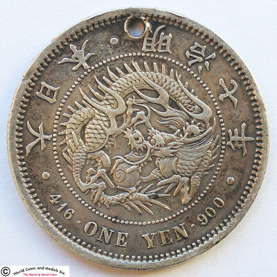Japan 1874 (Year 7) Silver Yen. Y-A25.2. Very Rare Key Date. Vf Details, Holed.