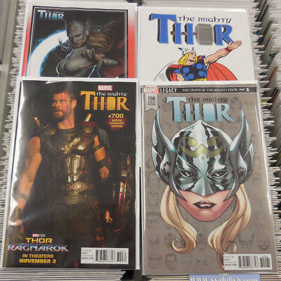 The Mighty Thor #700 Variant Lot Of 4 Death Of Thor Legacy