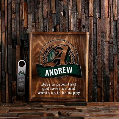 Personalized Beer Cap Shadow Box w/ Free Stainless Steel Bottle Opener