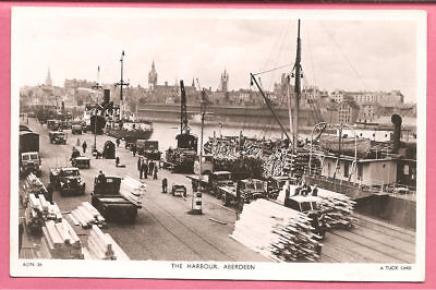 The Harbour, Aberdeen, Aberdeenshire, Scotland postcard. Real Photo. Tuck.