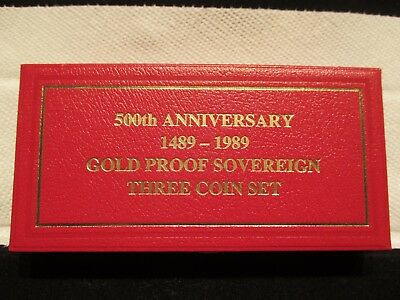 1489-1989 sovereign proof gold 3 coin set