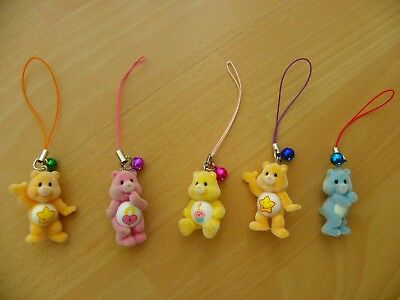 5 Miniature Hanging Care Bears with Bells - GC