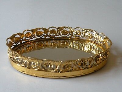 Vintage Small oval gold metal mirrored vanity dresser perfume tray