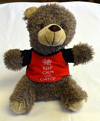 """KEEP CALM & CWTCH"" soft TEDDY BEAR,  Wales, Cymru, Keel Toys"