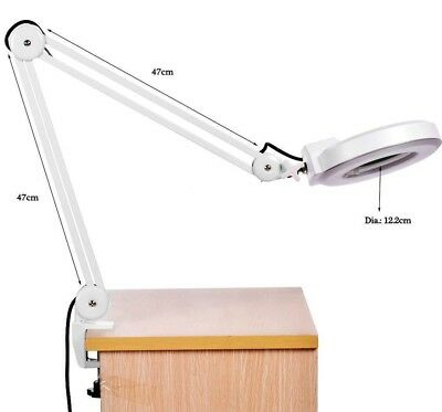 Swing Arm Magnifer Glass with Light 8X Desk Clamp Magnifying Lamp Nail Skincare