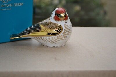 "Royal Crown Derby Paperweights  ""GOLDFINCH"" 1st Quality & Original Box"
