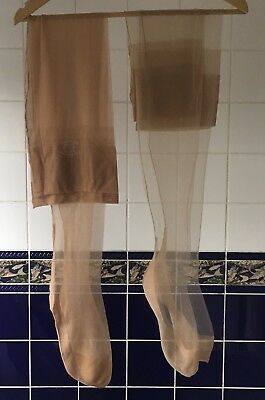 2 Pairs Sheer Vintage Fully Fashioned Seamed Nylon Stockings