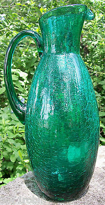 "Vintage Crackle Glass Pitcher Teal Green 1950's-60's 12""H"