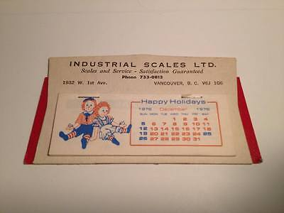 Standing Cardboard Desk Calendar Advertising 1977 Industrial Scales Ltd.