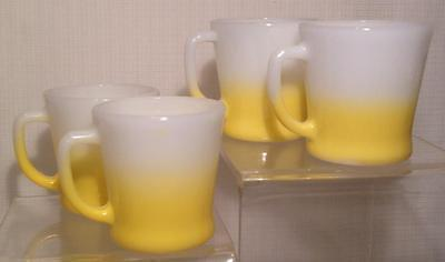 Fire king set of 4 yellow fade d handle mugs