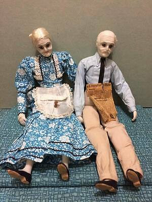 Antique poured wax dolls Grandmother and Grandfather