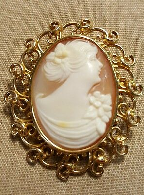 Estate Vintage 14k Solid Yellow Gold Carved Shell Cameo Brooch Pendant Heavy