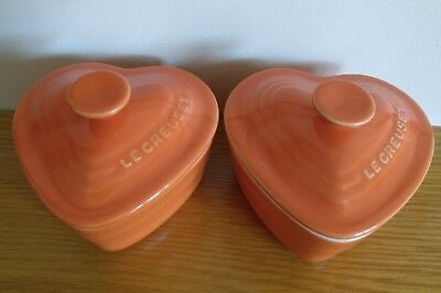 pair of orange le crueset heart shaped lidded pots new