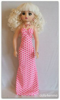 OOAK CISSY DOLL CLOTHES Pink & White Gown & Jewelry handmade Fashion NO DOLL d4e
