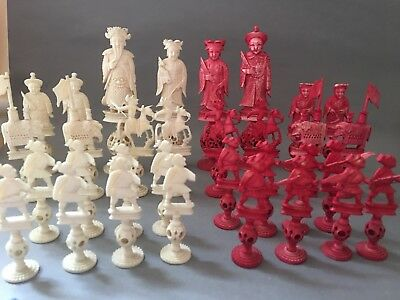 19th C Antique Chinese Canton Bovine Puzzle Ball Chess Pieces Full Set