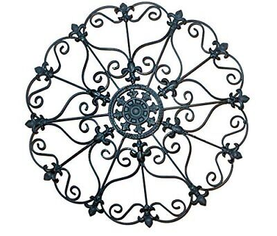 Wall Art Decor Home Vintage Metal Iron Antique Medallion Teal Indoor Outdoor New