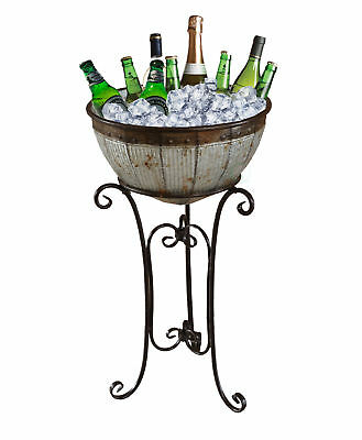 New Vintiquewise Galvanized Metal Beverage Cooler Tub with Stand, QI003289