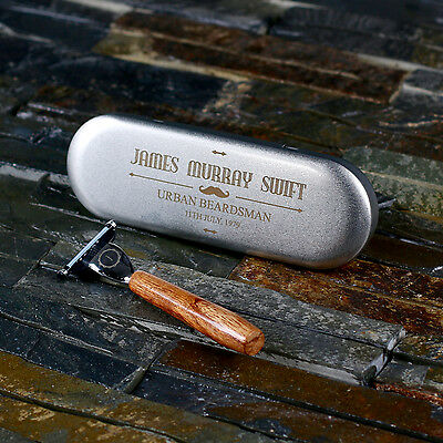 Personalized Shaver Razor with Tin Case - Gift for Him Men Christmas Birthday