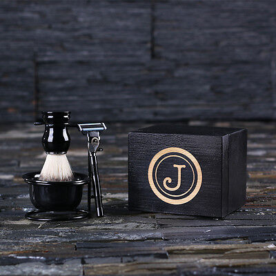 Personalized Engraved Shaving Brush & Razor: Unique Gift for Men, Groomsmen, Dad