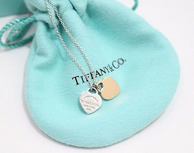 Tiffany & Co. Silver & 18K Rose Gold Return to MINI HEARTS  Pendant Necklace