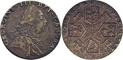 1787 Great Britain Silver Sixpence, WITHOUT hearts, EF, ONE YEAR TYPE COIN!