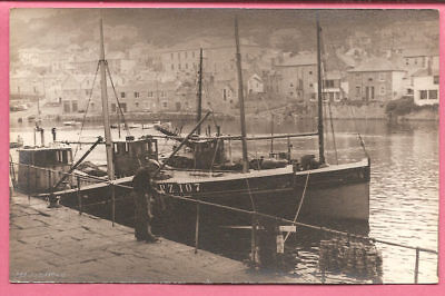 Mousehole – Harbour view b, Cornwall postcard. Real Photo.