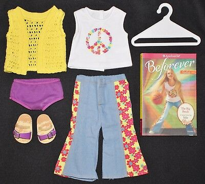 American Girl JULIE'S BEFOREVER MEET OUTFIT with BOOK Peace Yellow