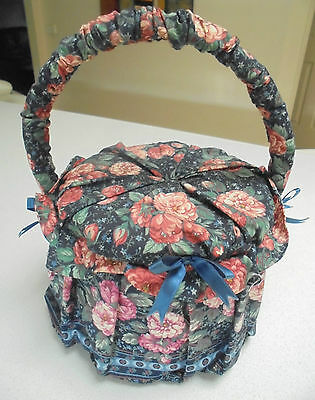 Retro Floral Fabric Round sewing basket with handle Blue fabric lining