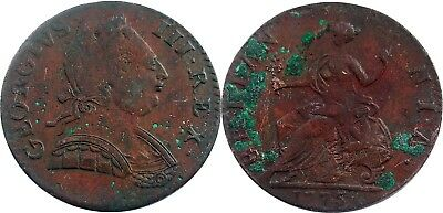 1775 NON-REGAL British Halfpenny, scarcer ROMAN HEAD Family, great detail, spots