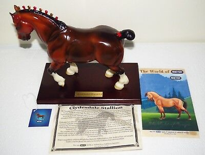 2002 QVC SR Breyer Glossy Bay Clydesdale with Wooden Presentation Base - Mint