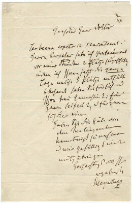 """MEYERBEER, Giacomo: Autograph letter signed """"Meyerbeer"""""""