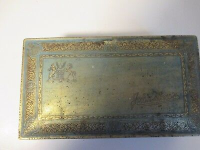 Johnston's Chocolates (One Pound~Size) Vtg METAL TIN CANDY BOX Hinged Lid BLUE