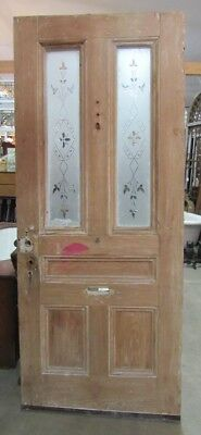 Antique Door with 2 Etched Glass Panels