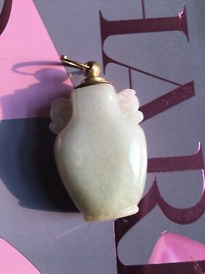 19th C Chinese Antique Natural Pale White Jade Jadeite Hand Carved Snuff Bottle
