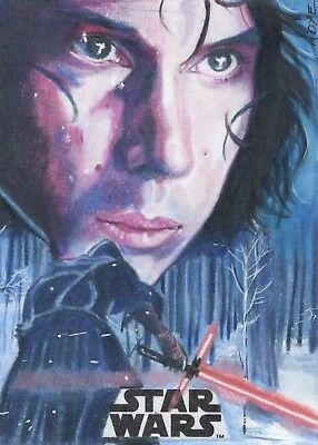 TOPPS STAR WARS Journey to The Last Jedi Kylo Ren sketch card AP AR MDye