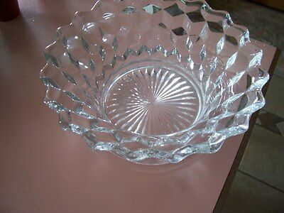 """Fostoria American 9 1/4"""" wide centerpiece bowl with rays"""
