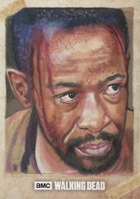 TOPPS WALKING DEAD SEASON 6 SKETCH CARD MDYE Artist Return Morgan Lennie James