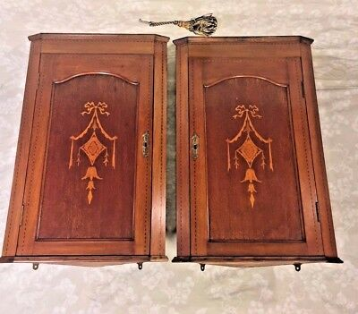 Antique Pair of Federal Style Inlaid Corner Hanging Cupboards with Lock and Key