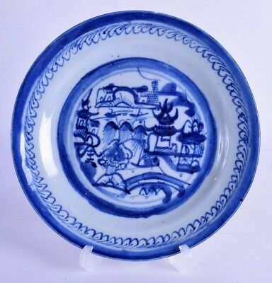 early 19th century chinese blue & white porcelain dish - jiaqing period - plate