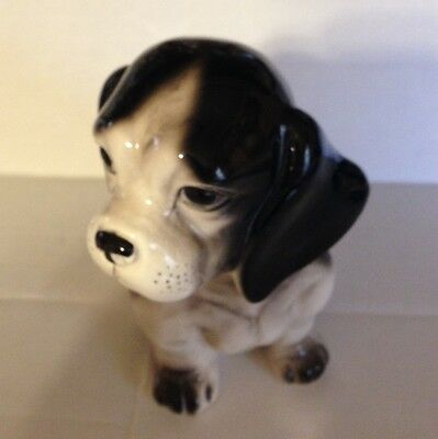 Vintage Black and White Beagle Planter 7""