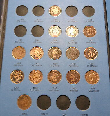 15 Indian Head Pennies in 1857-1909 Whitman One Cent Coin Collection Book