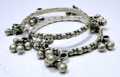 vintage antique ethnic tribal old silver bangles pair with bells