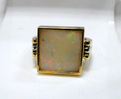 vintage Art deco 18 K solid gold natural square Opal ring jewelry